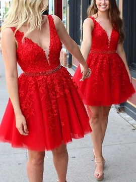 Ericdress Short Appliques V-Neck A Line Homecoming Dress