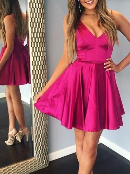 Ericdress Short V-Neck A-Line Sleeveless Homecoming Dress