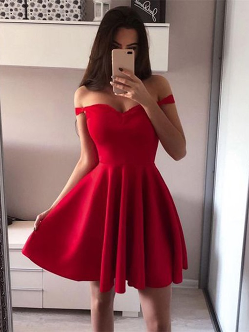 Ericdress Off-The-Shoulder Sleeveless A-Line Short Homecoming Dress
