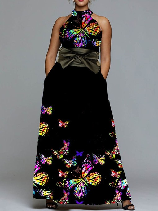Ericdress Animal Floor-Length Print Sleeveless Bowknot A-Line Dress(Without Waistband)