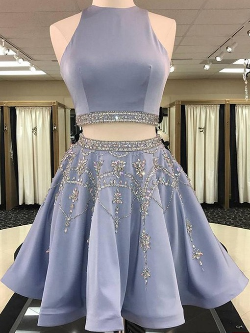 Ericdress Beading A-Line Sleeveless Jewel Homecoming Dress 2019