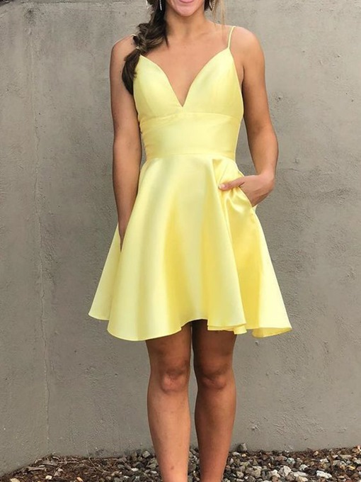 Ericdress Short Sleeveless Pockets A-Line Homecoming Dress
