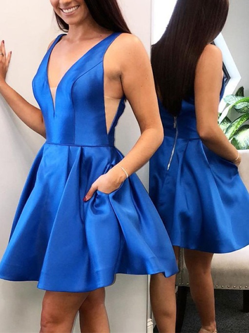Ericdress Pockets Sleeveless Short V-Neck Homecoming Dress