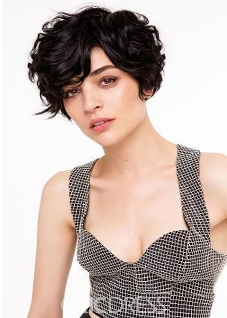 Ericdress 100% Human Hair Short Curly Women's Short Hairstyles Lace Front Cap Wigs 10Inches