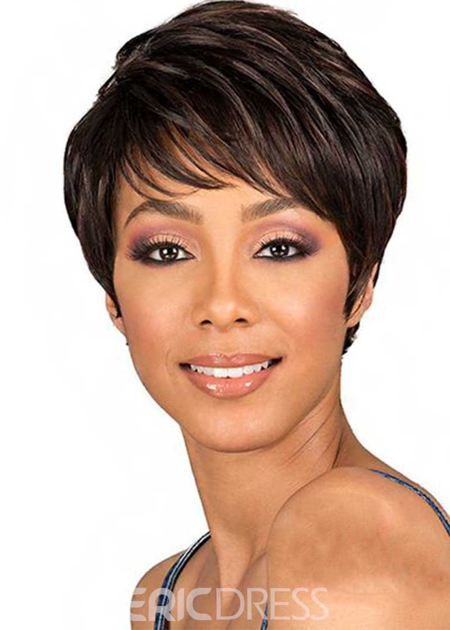Ericdress Women's Short Pixie Cut Hairstyles Natural Straight Synthetic Hair Lace Front Cap Wigs 8Inch