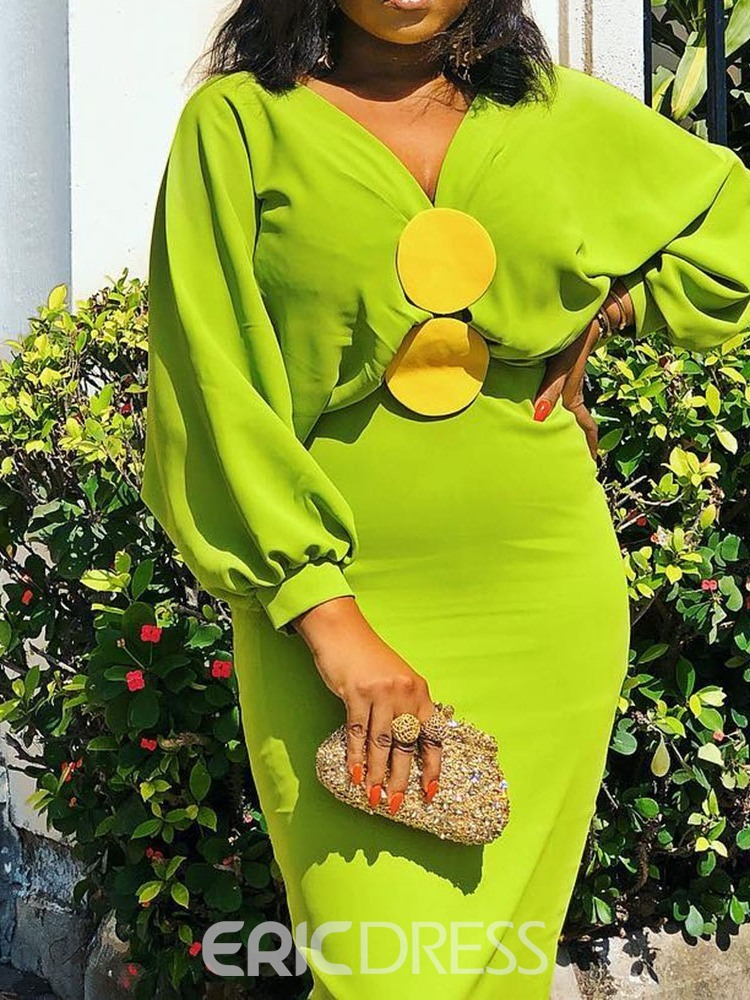 Ericdress Batwing Sleeve Ankle-Length V-Neck Pullover Standard-Waist Bodycon Green Dress
