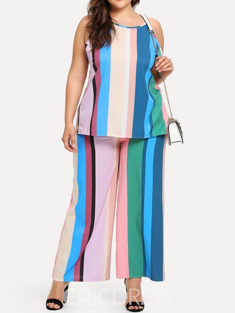 Ericdress Plus Size Stripe Print Wide Legs Pullover Two Piece Sets