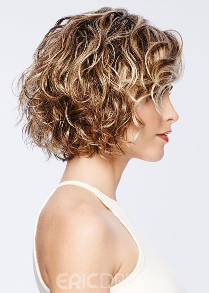 Ericdress Short Curly Hairstyles Women's Blonde Color Lace Front Cap Wigs 100% Human Hair Wigs 14Inch