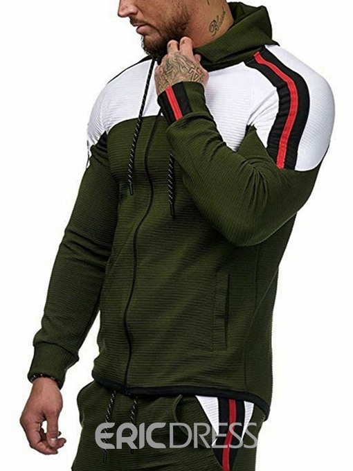 Ericdress Zipper Color Block Cardigan Casual Men's Slim Hoodies