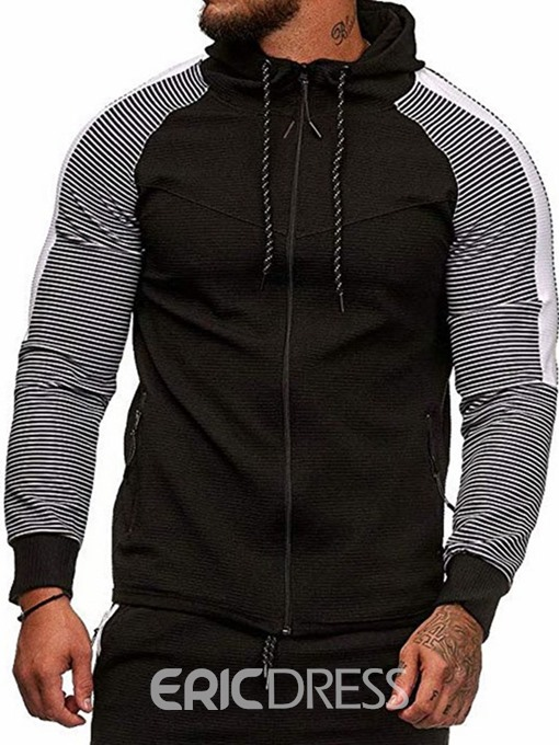 Ericdress Pocket Color Block Regular Slim Men's Casual Hoodies