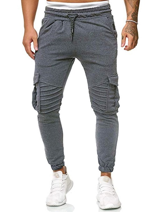 Ericdress Pocket Plain Lace-Up Fall Men's Casual Pants