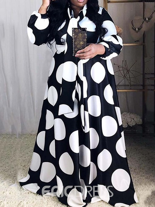 Ericdress Plus Size Floor-Length Lantern Sleeve Polka Dots Color Block Dress