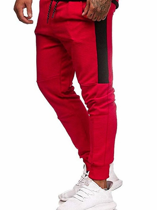 Ericdress Harem Color Block Pocket Mid Waist Lace-Up Men's Casual Pants