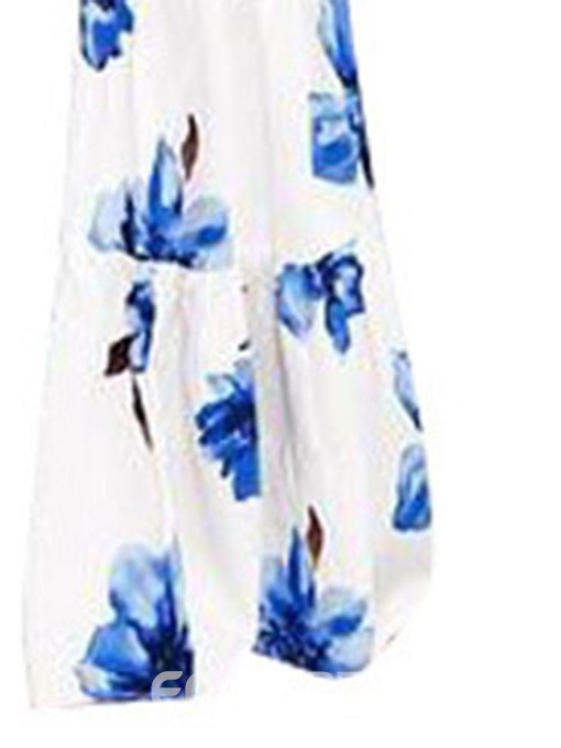 Ericdress Off Shoulder Print Full Length Floral Loose Bellbottoms Jumpsuit
