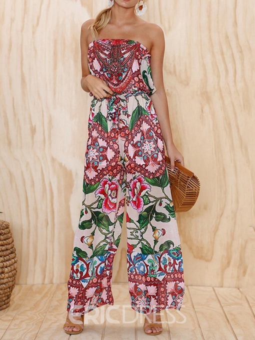 Ericdress Fashion Print Strapless Floral Wide Legs Loose Jumpsuit