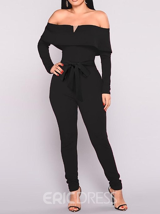 Ericdress Sexy Off Shoulder Full Length Patchwork Pencil Pants Skinny Jumpsuit