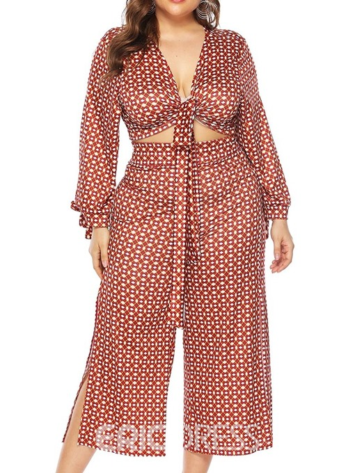 Ericdress Shirt Print Wide Legs Lace-Up Two Piece Sets