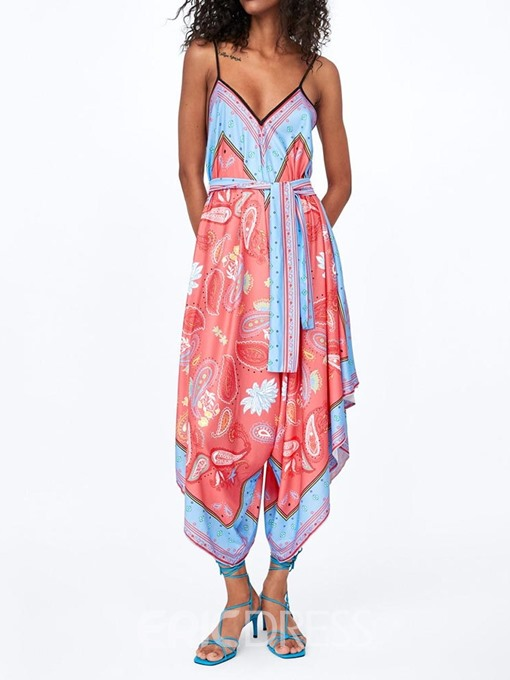 Ericdress African Fashion Mid-Calf Print Floral Loose Jumpsuit