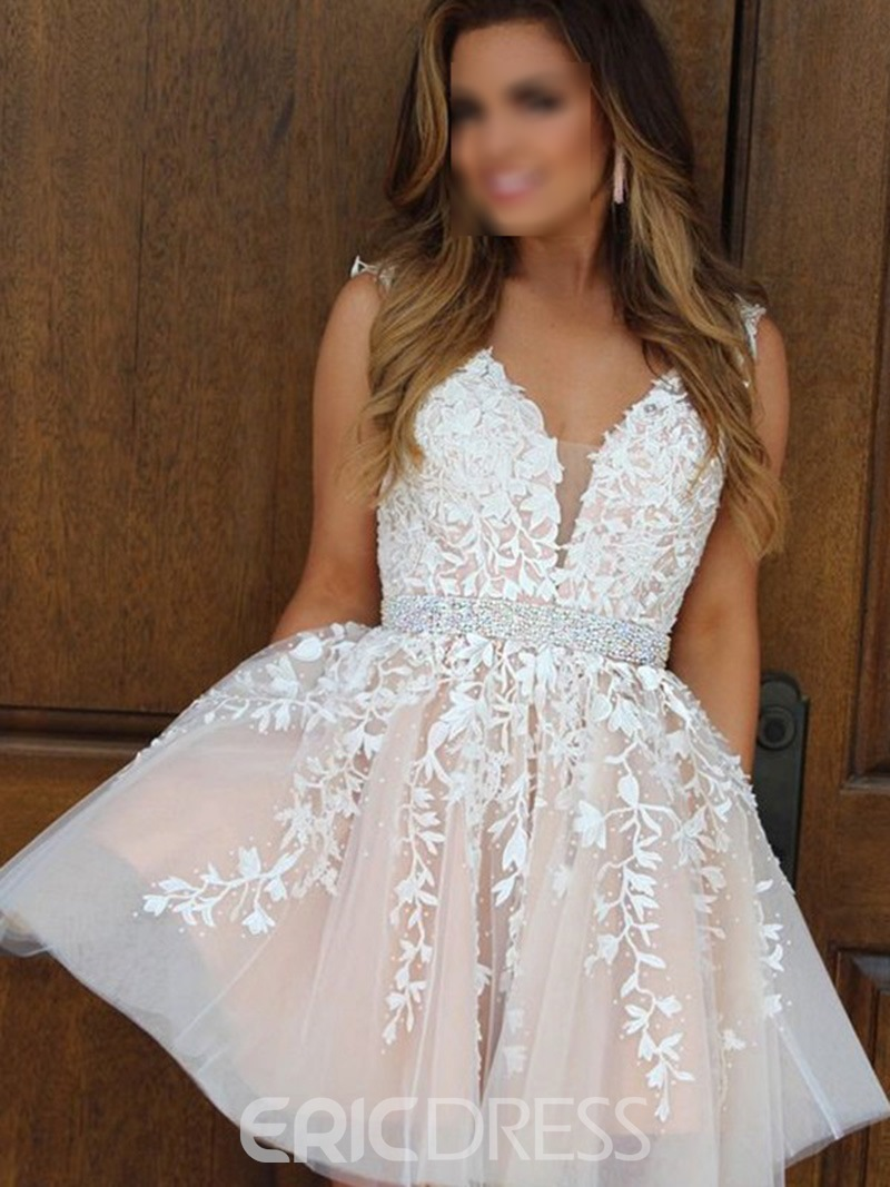 Ericdress A-Line V-Neck Short Beading Homecoming Dress