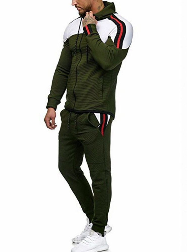 Ericdress Lace-Up Zipper Casual Men's Sports Outfit