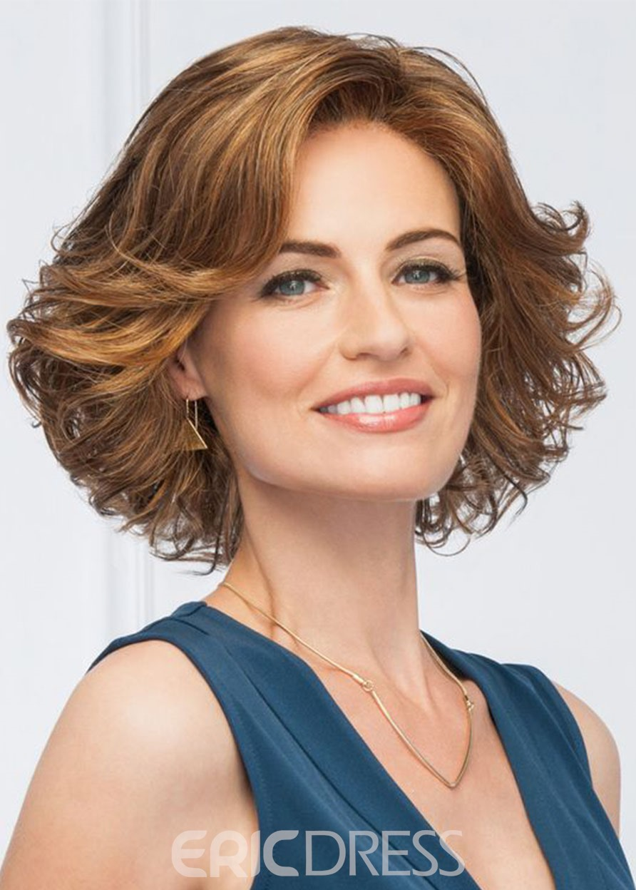 Ericdress Natural Wavy Middle Synthetic Hair Lace Front Wigs Short Hairstyle For Women In Party 16Inch
