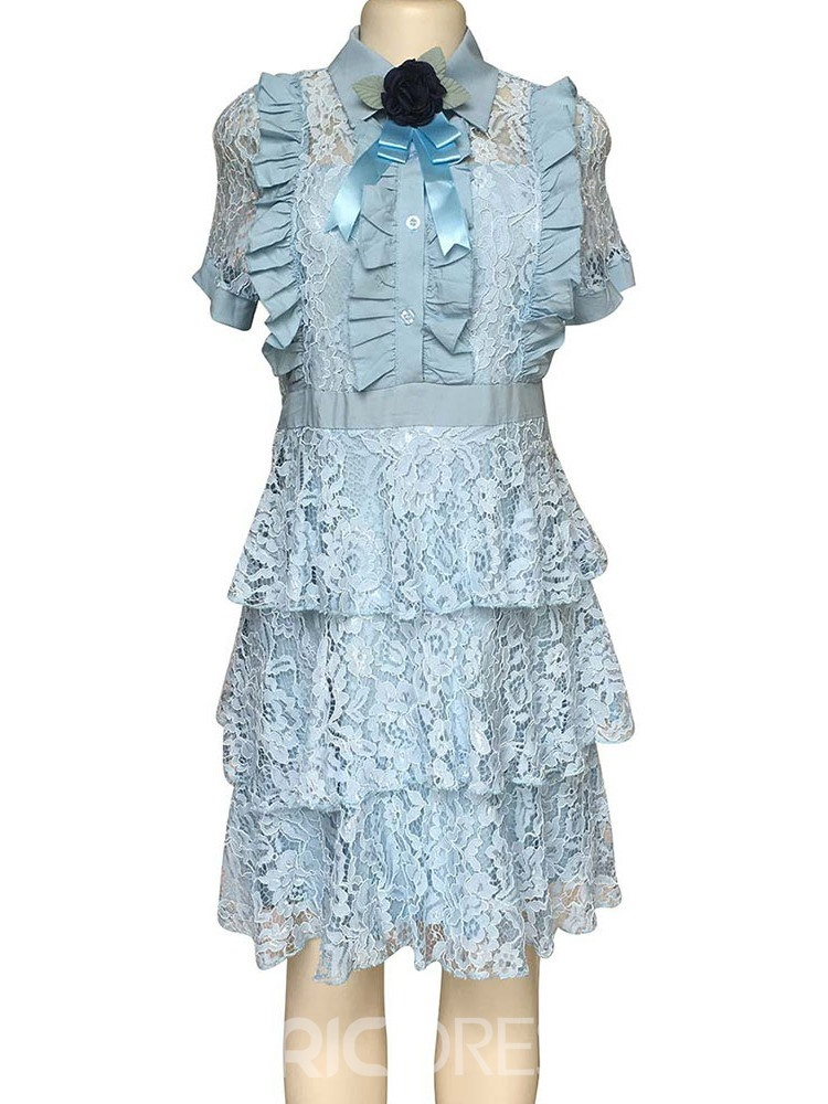 Ericdress Lace A-Line Short Sleeve Bow Collar Ruffled Regular Dress