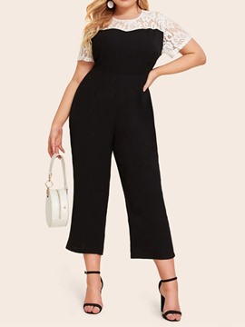 Ericdress Plus Size Lace Mid-Calf Loose Straight Jumpsuit