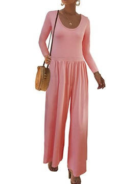 Ericdress Fashion Plain Full Length Wide Legs Loose Jumpsuit