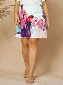 Ericdress Plus Size Mini Skirt Print A-Line Skirt