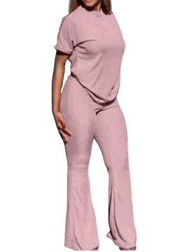 ericdress casual pants plain bellbottoms pullover zweiteilige sätze