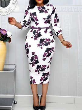 Ericdress Floral Round Neck Three-Quarter Sleeve Pullover Bodycon Dress(Without Waistband)
