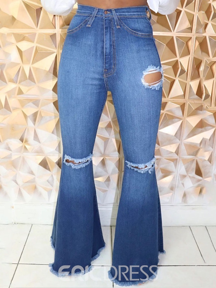 Ericdress Fashion Bellbottoms Button Slim Zipper Jeans