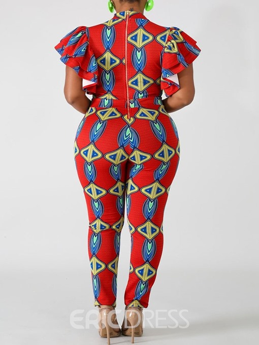Ericdress African Fashion Ankle Length Falbala Skinny Jumpsuit