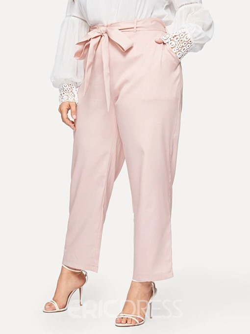 Ericdress Plus Size Loose Lace-Up Plain Straight Ankle Length Casual Pants