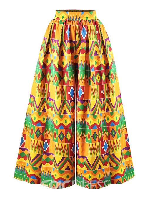 Ericdress Loose Color Block Print Full Length Wide Legs Casual Pants