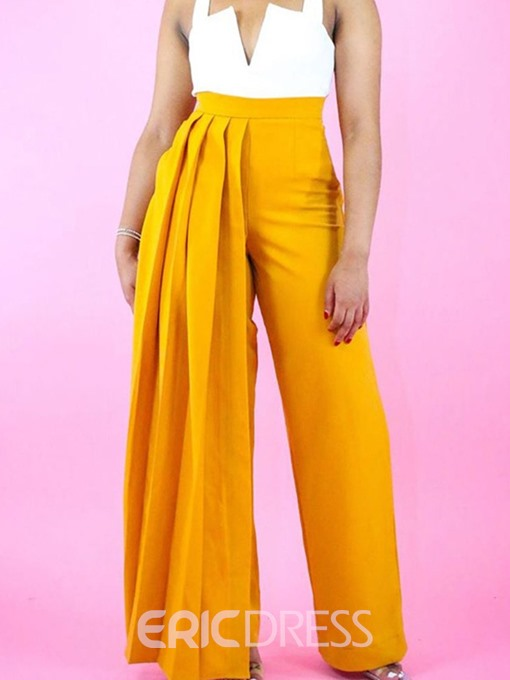 Ericdress Loose Plain Pleated Full Length Straight Casual Pants