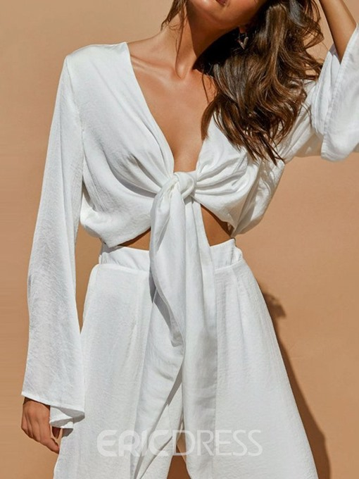 Ericdress Sexy Plain V-Neck Lace-Up Two Piece Sets