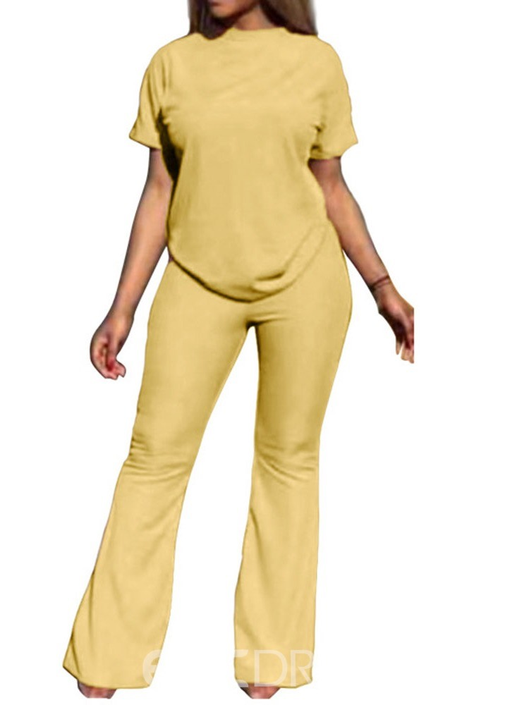 Ericdress Casual Plain Bellbottoms Pullover Two Piece Sets