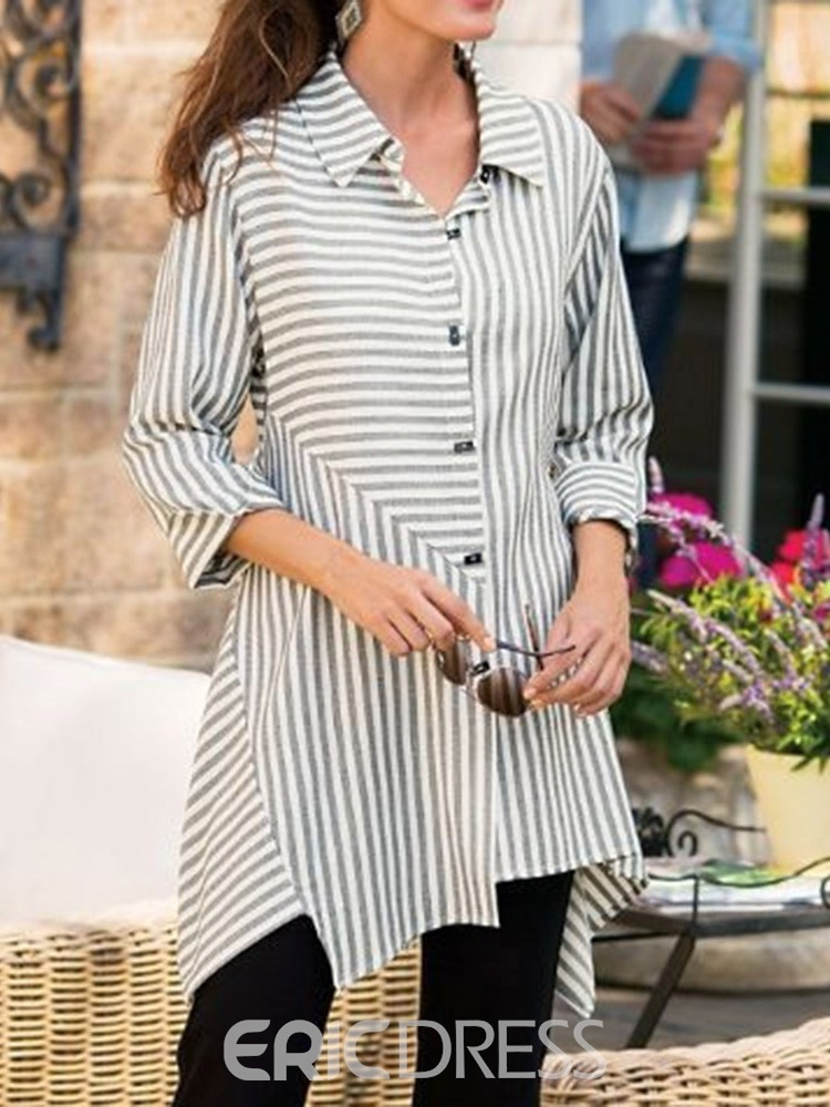 Ericdress Striped Asymmetric Button Lapel Single-Breasted Mid-Length Blouse