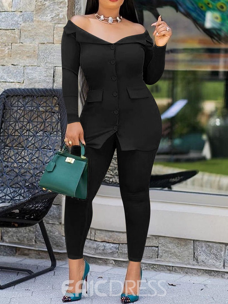Ericdress Off Shoulder Plain Single-Breasted Two Piece Sets