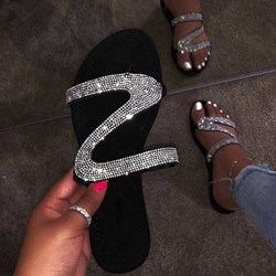 Ericdress Rhinestone Slip-On Block Heel Womens Flat Sandals фото