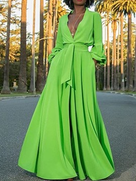 Ericdress Lantern Sleeve V-Neck Lace-Up Green A-Line Maxi Dress