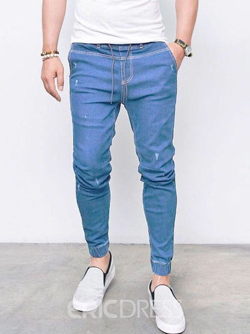 Ericdress Plain Mid Waist Men's Lace-Up Jeans