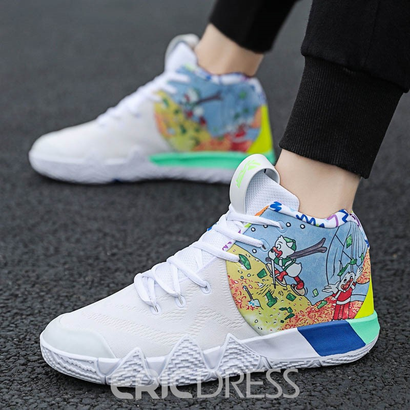 Ericdress PU Color Block Lace-Up Round Toe Men's Chic Sneakers