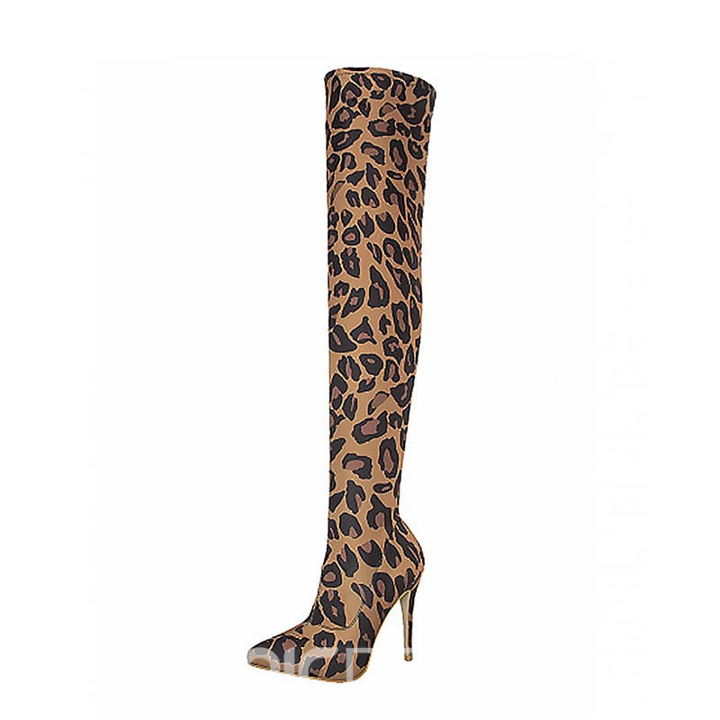 Ericdress Leopard Print Pointed Toe Stiletto Heel Women's Knee High Boots