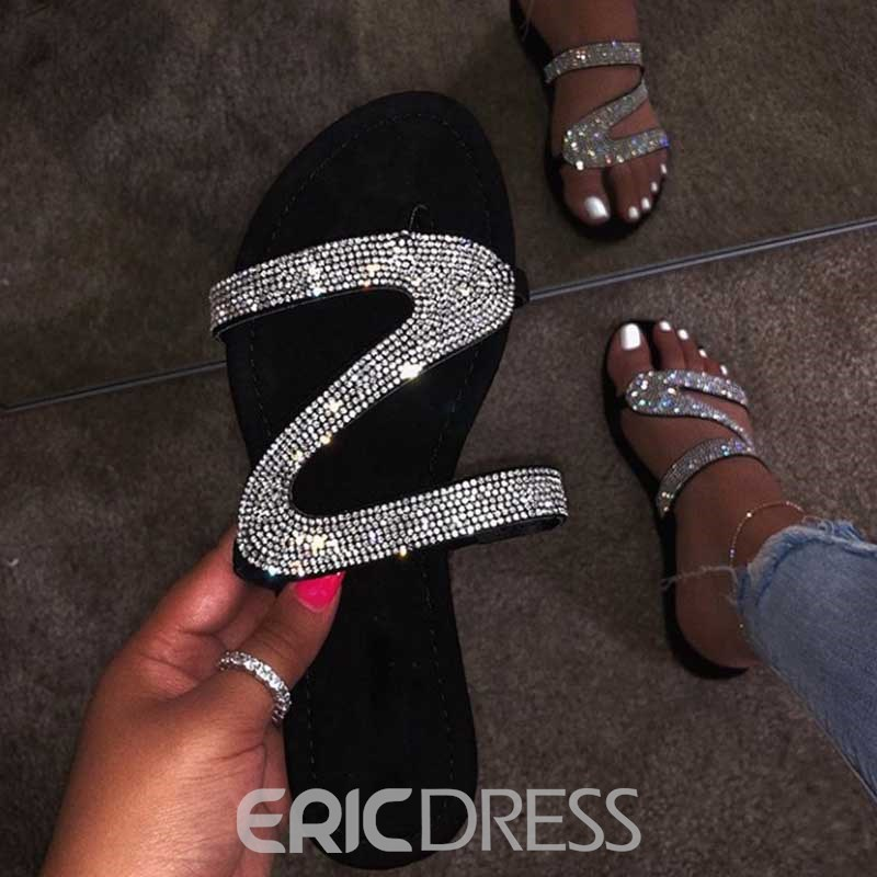 Ericdress Rhinestone Slip-On Block Heel Women's Flat Sandals