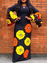 Ericdress African Fashion Dashiki Round Neck Print Floral Pullover Dress фото