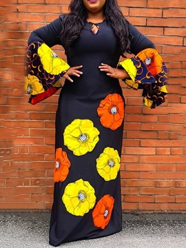 Ericdress African Fashion Dashiki Round Neck Print Floral Pullover Dress