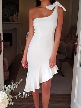 Ericdress Ruffles One Shoulder Trumpet Sleeveless Homecoming Dress