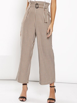 Ericdress Plaid Loose Ankle Length High Waist Casual Pants